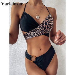 2020 Mid Waist Bikini Female Swimsuit Women Swimwear Two-pieces Bikini set Splicing Leopard Bather Bathing Suit Swim Lady V2148