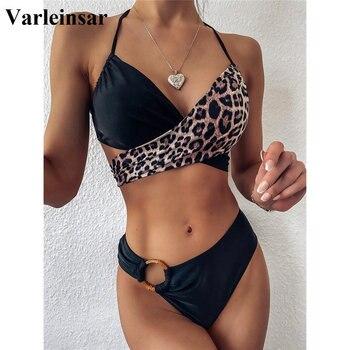 2020 Mid Waist Bikini Female Swimsuit Women Swimwear Two pieces Bikini set Splicing Leopard Bather Bathing Suit Swim Lady V2148 Bikini Set    -