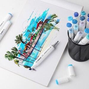 Image 5 - 20 สีศิลปิน MARKER ปากกา Blendable เครื่องดื่มแอลกอฮอล์ชุดสีฟ้าสำหรับ Ocean Sky แฟชั่นและออกแบบตกแต่งภายใน