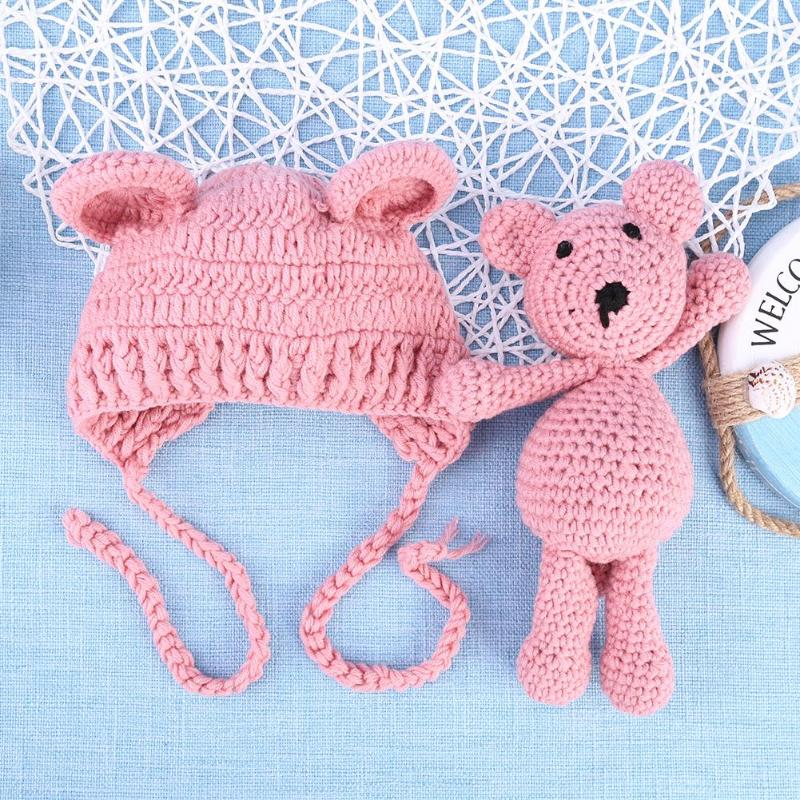 Newborn Baby Girl Boy Photography Props Bear Hat And Cute Clothes Carters Hand Made Crochet Costume Photo Shoot Clothes