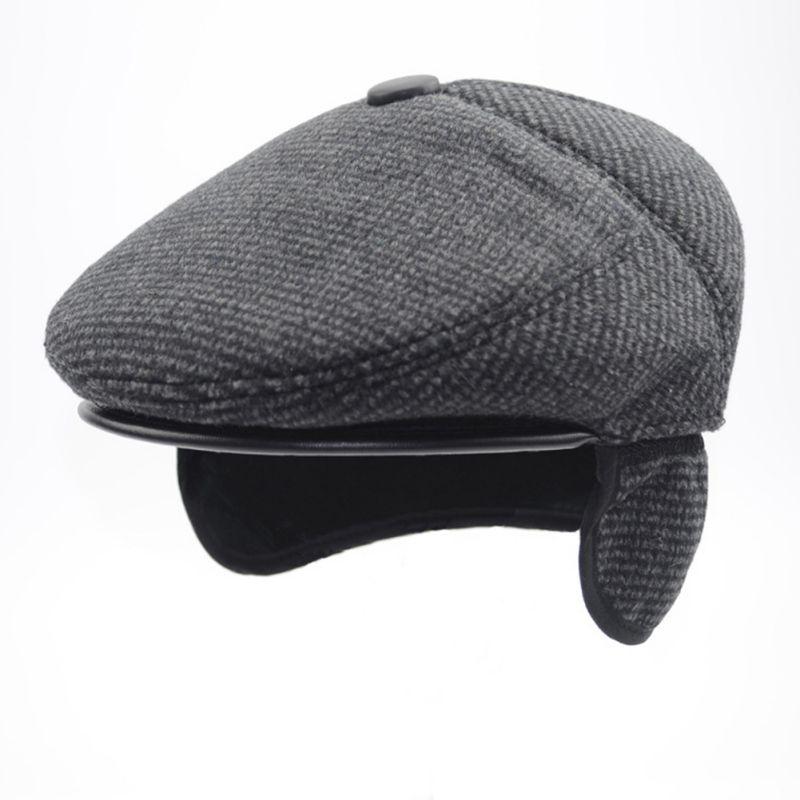 New Autumn Winter Men's Hats Beret Caps Earmuff Dad Hat Plaid Beret Hat Gentlemen Retro Men Casual Flat Cap Earflap S/M/L