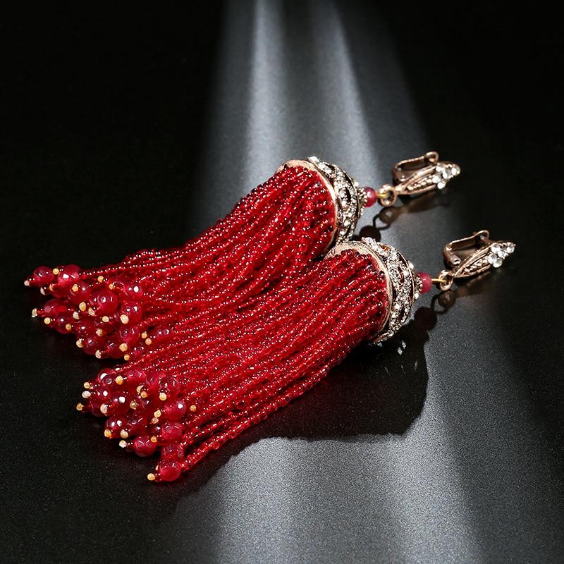 Kinel Bohemia Crystal Beads Tassel Earrings For Women Gold Plating Fashion Ethnic Long Drop Earrings Vintage Wedding Jewelry