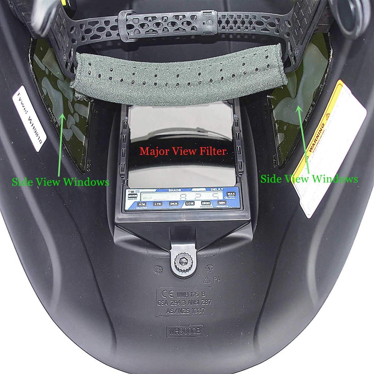 Máscara de soldadura de escurecimento automático 3 vista windows tamanho 100x93mm (3.94x3.66 ) din 4 13 óptico 1111 5 sensores ce capacete de soldagem - 4