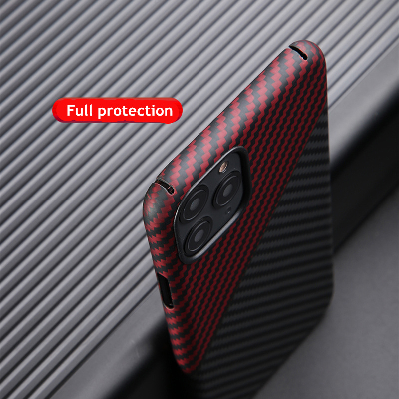Thin strudy and lightweight protecive case for apple iphone 11 pro max carbon fiber back cover bumper aramid shellFitted Cases   -
