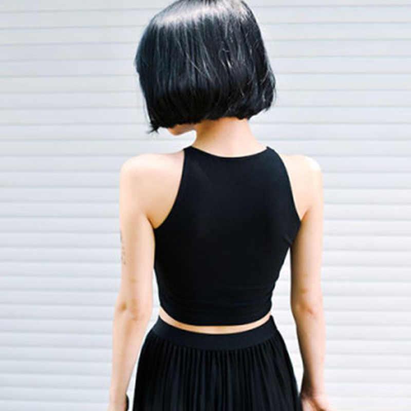 黒ラウンドネックノースリーブ原宿女性のtシャツコットンクロップトップ女性のシャツ女の子女性tシャツストリートトップスcamiseta mujer