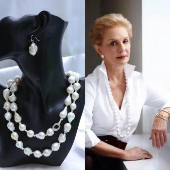 AAAA Natural freshwater baroque profiled pearl sweater chain necklace ultra noble and elegant necklace New in spring NAA