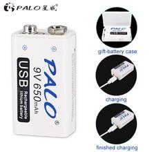 PALO 9V แบตเตอรี่ชาร์จ Micro USB 650MAh Li Ion 6F22แบตเตอรี่9V สำหรับมัลติมิเตอร์ไมโครโฟนของเล่นรีโมทคอนโทรลควบคุม KTV