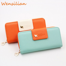 Womens Wallets Portfel Purse For Money Leather Clutch Bag Woman Birds  Long Card Holder Large Carteira Cartera Mujer