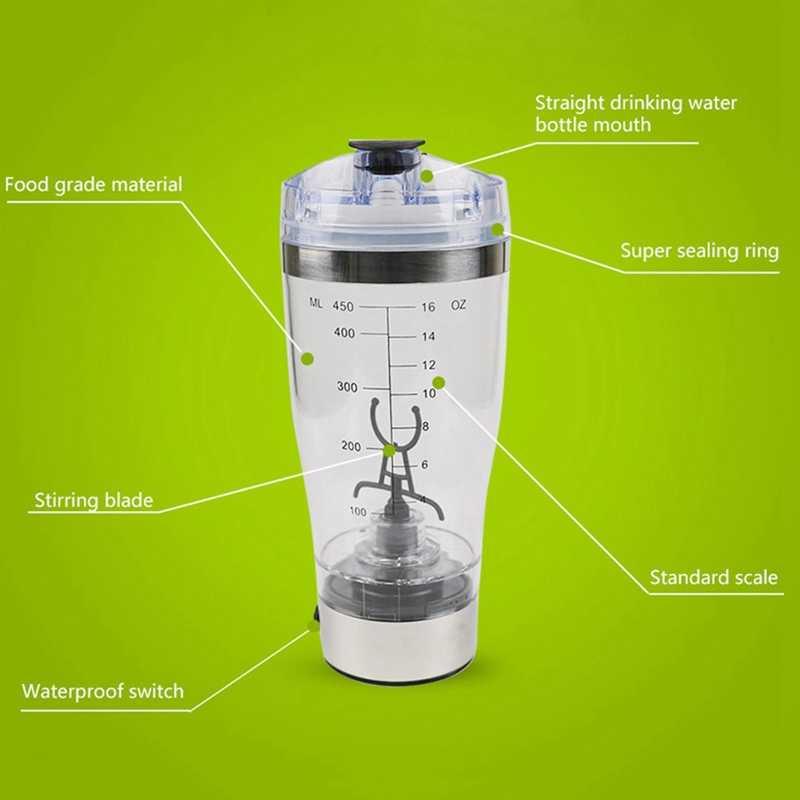 450 ml de proteína elétrica abanador usb garrafas leite café liquidificador garrafa de água movimento vortex tornado misturador inteligente