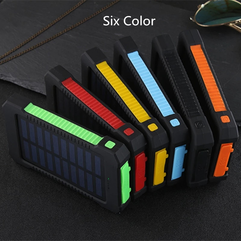 Solar Power Bank Waterproof 30000mAh Solar Charger 2 USB Ports External Charger Powerbank For Xiaomi Smartphone with LED Light 5