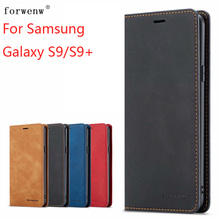 For Samsung Galaxy S9 S9+ Case Magnetic Phone Plus Cover Wallet Flip Leather Stand