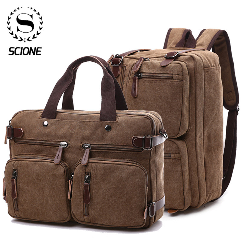 Scione Men Canvas Briefcase Travel Bags Suitcase Classic Messenger Shoulder Bag Tote Handbag Big Casual Business Laptop Pocket