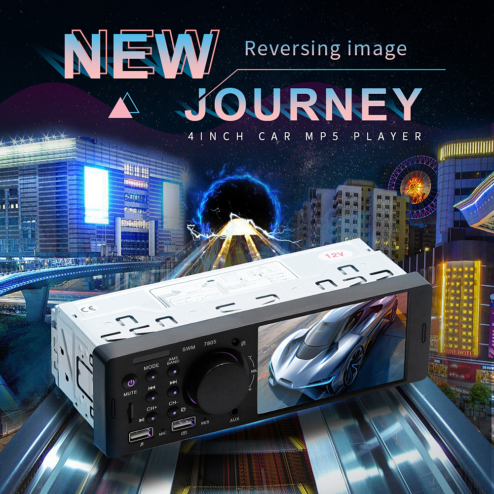 4.1 Inch TFT 1 Din Car Radio Audio Stereo TF USB FM Radio Bluetooth MP5 Player Can Be Connected To The Rear View Camera