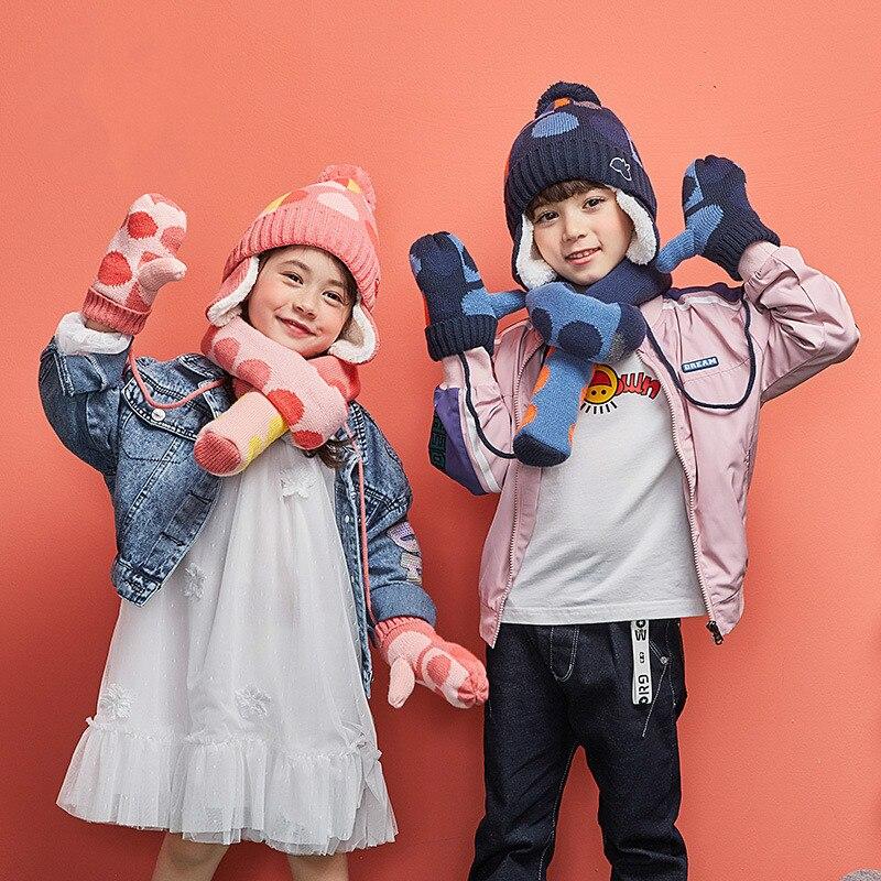 COKK Children Winter Winter Hat And Gloves Set For Kids Boys Girls Knitted Hat With Scarf Velvet Thickening Set Warm Snow Gift