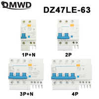 DPNL DZ47LE-63 1P+N 2P 3P+N 4P 20A 230V 50HZ 60HZ Residual Current Circuit Breaker With Over Current And Leakage Protection RCBO