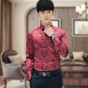 Image 2 - 2020 New Arrival Luxury Brand Mens Formal Shirts Long Sleeve Floral Men Shirt Tuxdeo Shirt Designer Shirts Plus Size 5XL