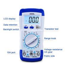 1 sztuk A830L miernik cyfrowy multimetr prądu LCD przenośne napięcie prądu stałego diody Multitester ręczny próbnik napięcia Test prądu omomierz