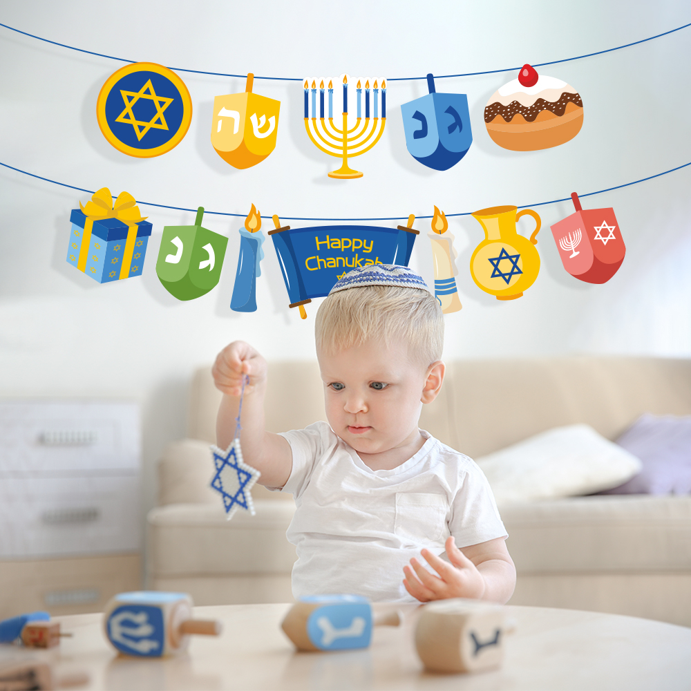 Happy Hanukkah Party Decorations Wall Hanging Bunting Banners Chanukah Party Favors Hanukkah Party Supplies
