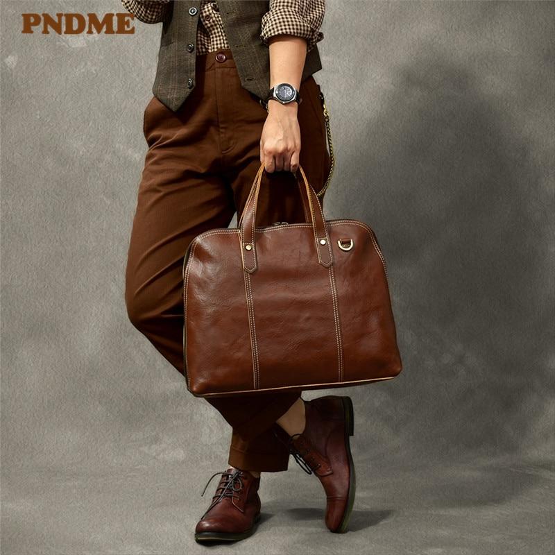 PNDME Fashion Designer Genuine Leather Men's Briefcase Business Casual Luxury Soft Cowhide Work Laptop Shoulder Messenger Bags
