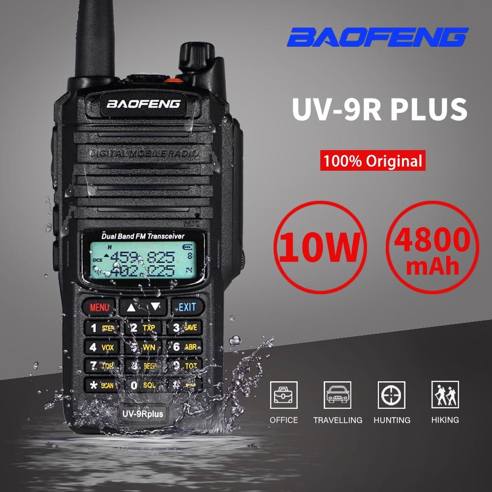 Hot 10W Baofeng UV-9R Plus Walkie Talkie Waterproof UV9R Plus Dual Band Portable CB Ham Radios 9rhp FM Transceiver Two Way Radio