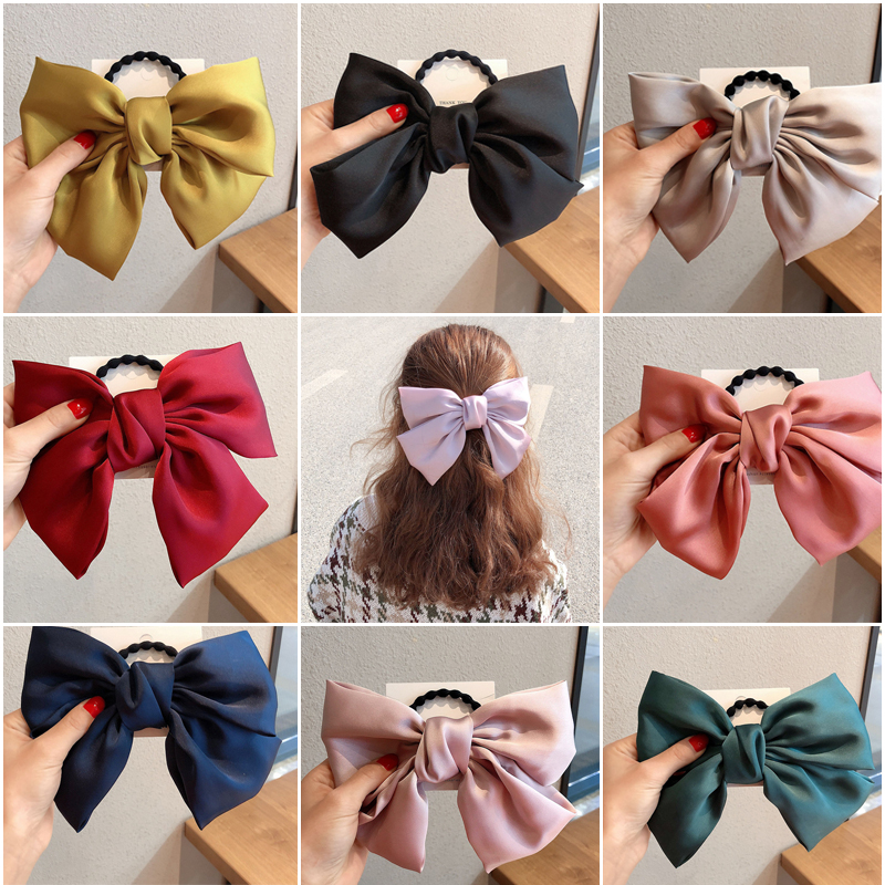 22CM Big Solid Color Bow Tie Hair Bands For Women Satin Elastic Rubber Band Girls Hair Accessories 2020 New
