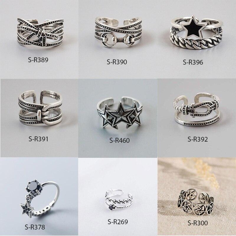 Vintage 925 Sterling Silver Rings For Men Women Size 16mm-18mm Adjustable Handmade Thai Silver Rings