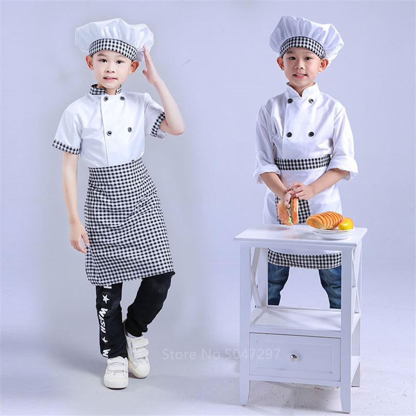 Kids Chef Jackets Kitchen Roleplay Uniform Cook Hat Restaurant Cosplay Costumes Halloween Children Waiter Waitress Clothing Sets