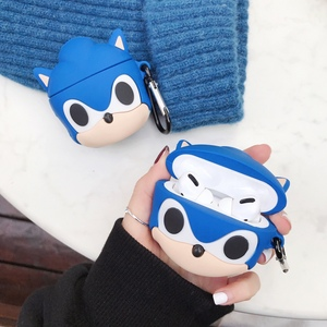 For AirPods Pro 3D Anime Sonic The Hedgehog Earphone Case For AirPods 1 2 3 Bluetooth Headset Cartoon Silicone Cover with Hook(China)
