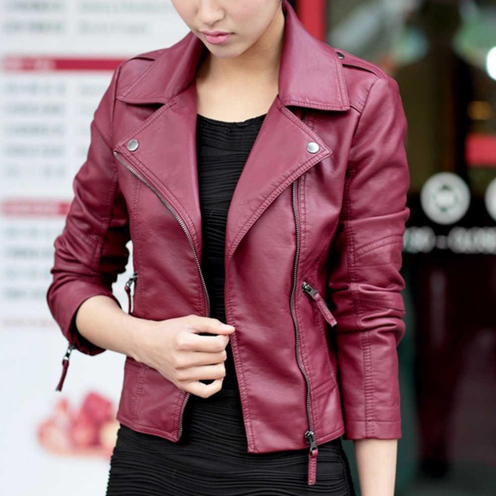 JODIMITTY 2020 jesień Zipper motocykl kurtka kobiety krótki Faux miękka damska skórzana kurtka kurtka ze skóry sztucznej panie Street Coat