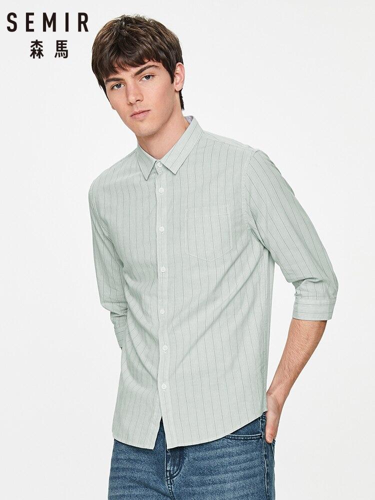 SEMIR Spring shirt men 2020 new vertical stripe square collar cotton casual shirt male Japanese students cotton shirt