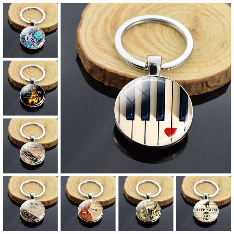 Musical Instrument Piano Guitar Clarinet Flute Music Double Face Glass Cabochon Keychain Music Note Metal Keyring Christmas Gift