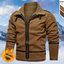 Jacket Suede Overcoat Faux-Fur Winter Casual Mens Warm Thick Fashion Outdoor Zipper