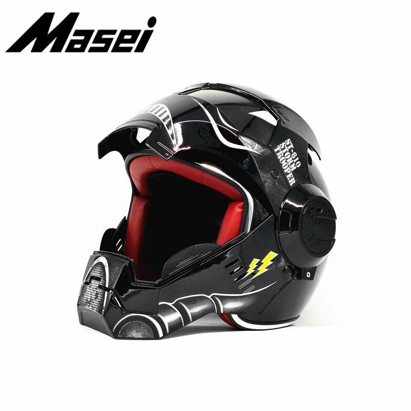 Masei Iron Man helmet motorcycle Vintage Retro helmet half helmet open face helmet casque Motocross Off Road Touring helmet star in Helmets from Automobiles Motorcycles