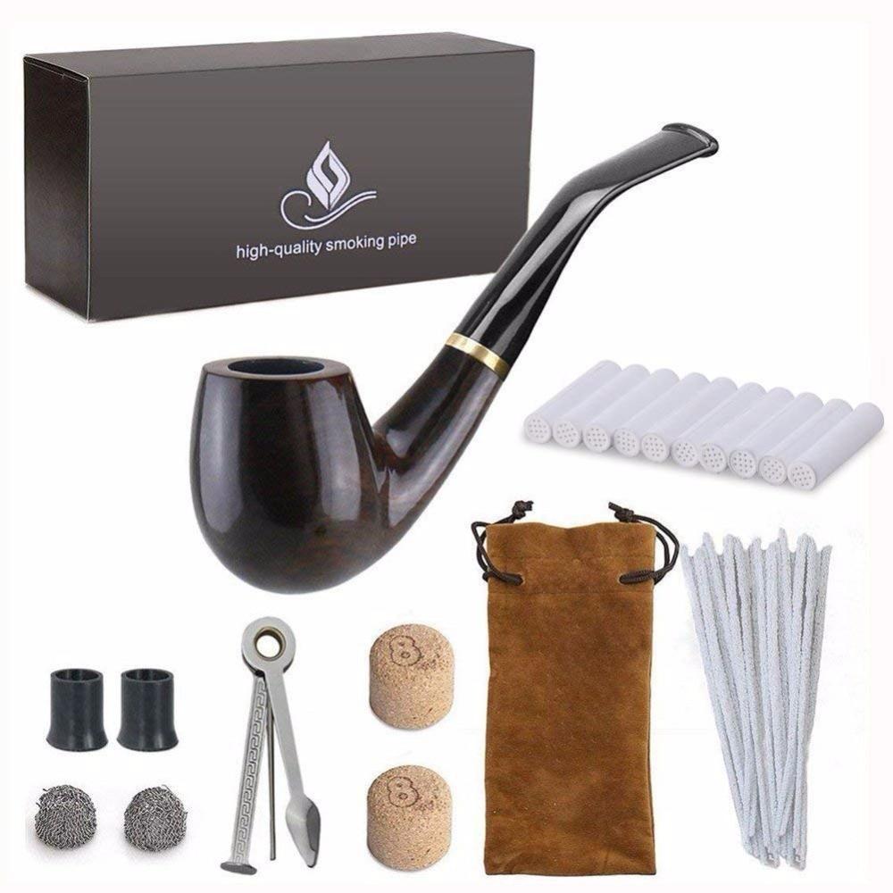 Новинка 1 Набор для курения, деревянная трубка для курения, черная табачная трубка с аксессуарами для труб (деревянная), мужской гаджет, подарочная коробка|tobacco pipe|smoking pipepipe tobacco pipes | АлиЭкспресс