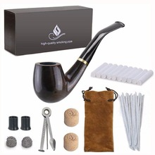 New 1 Smoking set Wood Smoking Pipe, Ebony Tobacco Pipe with Pipe Accessories (wooden) Mens Gadget Gift box