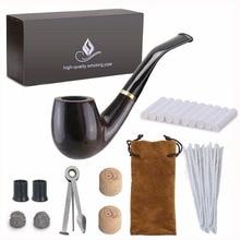 Nowy 1 zestaw do palenia drewniana fajka, hebanowa fajka do tytoniu z akcesoriami do rur (drewniana) męska gadżet pudełko
