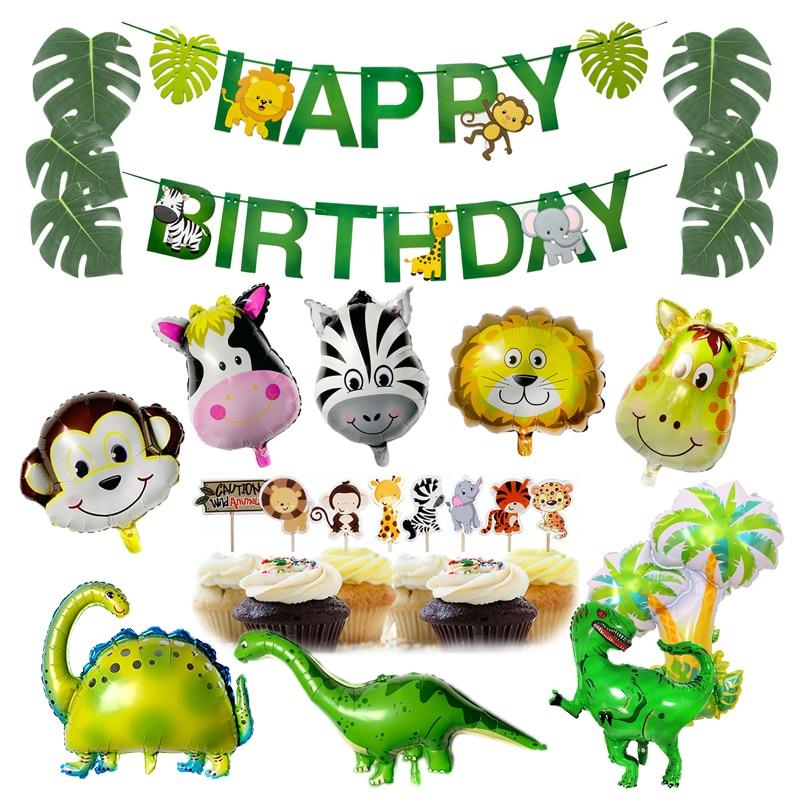 Animal Balloon Birthday Safari Party Dinosaur Jungle Party Theme Zoo Birthday Party Decoratino Kids Happy Birthday Banner Decor