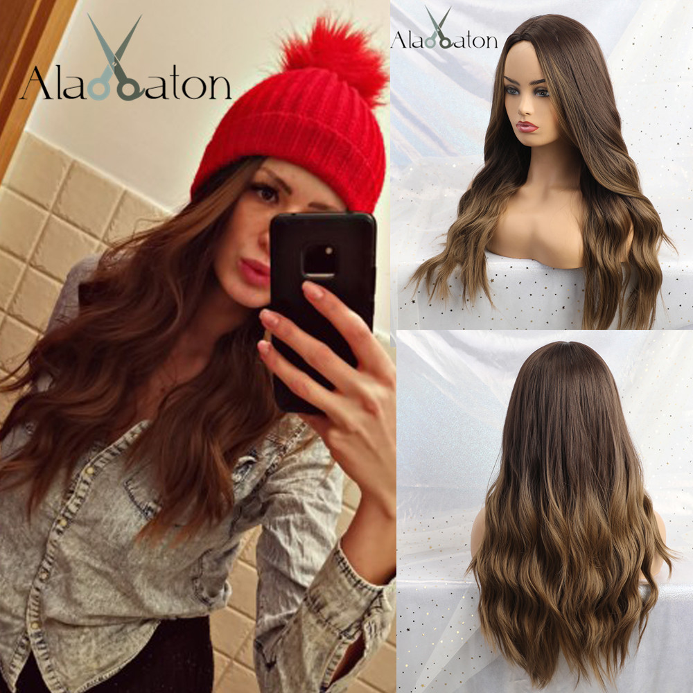 ALAN EATON Long Synthetic Wigs Ombre Brown Blonde Middle Part High Density Heat Resistant Wavy Wigs For Women Cosplay Party