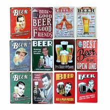 Cartel de cerveza de decoración de lata, placa Vintage, cartel de cerveza, placas decorativas, Bar, Club, decoración de pared, 20x30cm