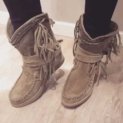 Nova chegada clássico borla ocidental cowboy botas de salto baixo sapatos joelho alta mulher botas de inverno para o couro feminino cowgirl