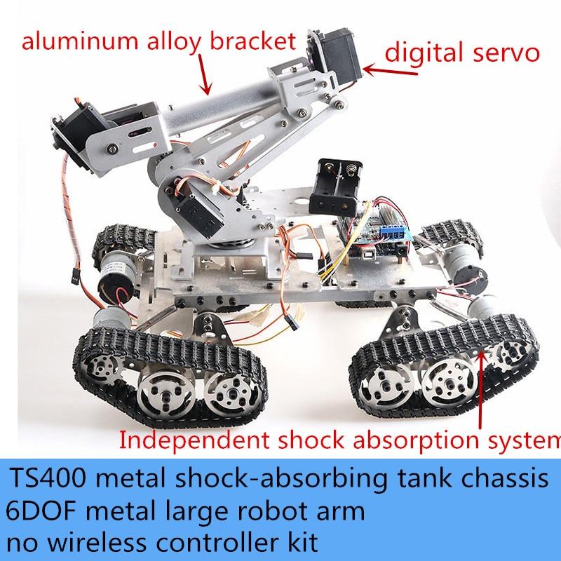 6DOF Large Metal Robot Arm With TS400 Shock-Absorbing Smart Tank Chassis Kit 6-Axis Vehicle Robotic High Torque Servo Motor DIY