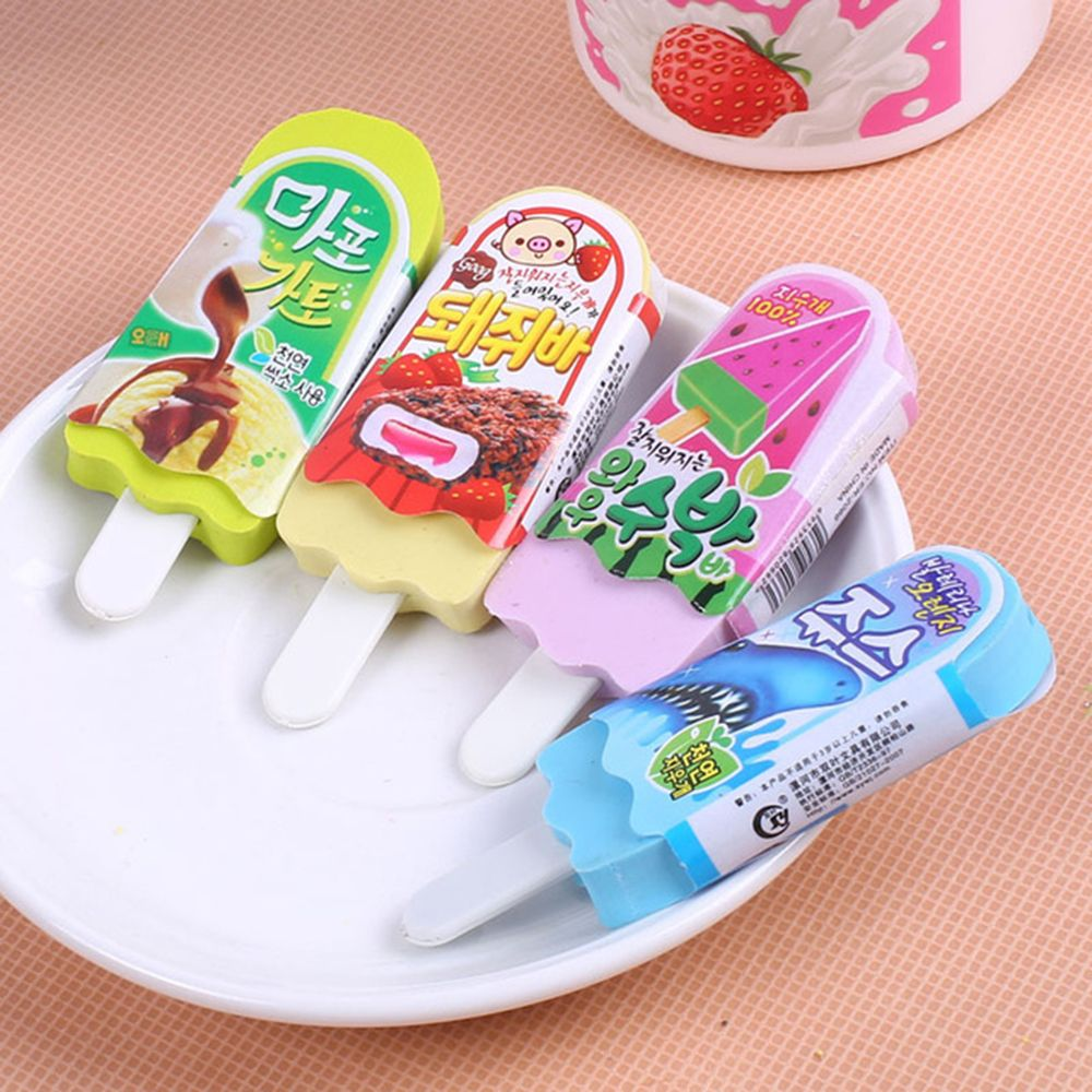 1 Pcs Cute Kawaii Erasers Ice Cream 3D Pencil Eraser For Kids Stationery School Supplies Children Gift Toy Free Shipping