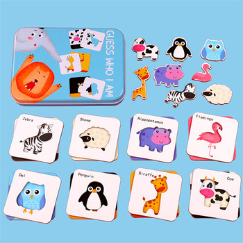 Children Creative Wooden Puzzle Iron Box Toys Cartoon Animals Dinosaur Puzzle Cognitive Interactive Game English Learning Cards kids creative wooden puzzle iron box kindergarten baby early education cartoon animal traffic puzzle cognitive interactive game