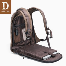 Dide 2021 mochila masculina carga usb 15.6 portátil preto voltar pacotes de couro mochila viagem masculino à prova dwaterproof água do vintage