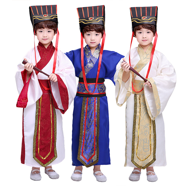 7Color Kids Chinese Ancient Costume Traditional Dynasty Official Stage Performance Party Clothing Folk Dance Hanfu Costumes Set 2