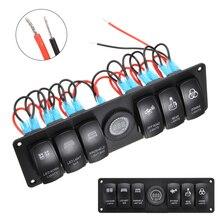 6 Gang LED Rocker Switch Panel Waterproof 12V 24V for Truck Boat Car Switch Panel Lighter Socket Circuit Breaker Switch Panel цена в Москве и Питере
