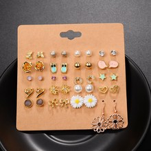 Punk 20 Pairs Pack Set Brincos Mixed Stud Earrings For Women Crystal Ear Studs Fashion Simulated Pearl Jewelry Wholesale Y4(China)
