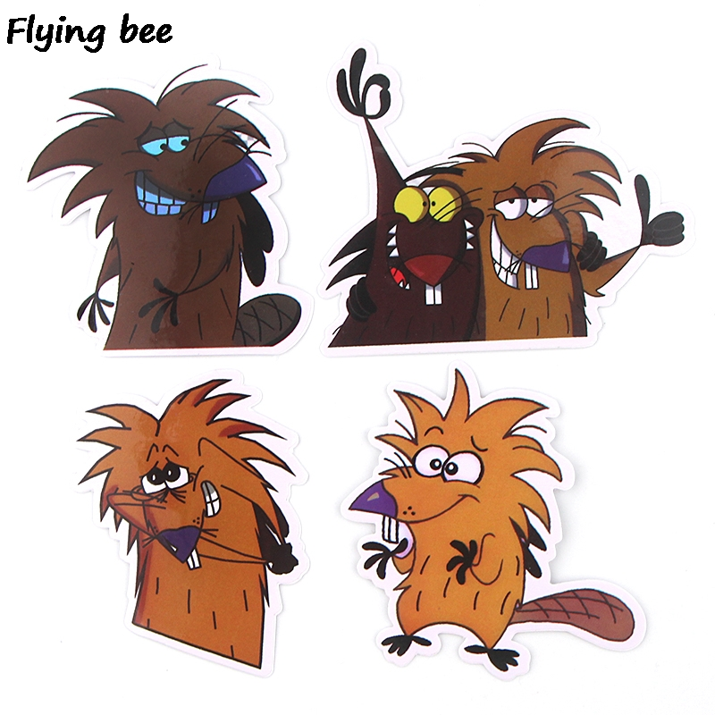 20 Flyingbee 20 pcs The Angry Beaver Sticker funny cute Stickers for DIY Luggage Laptop Skateboard Car Bicycle Stickers X0350 (5)