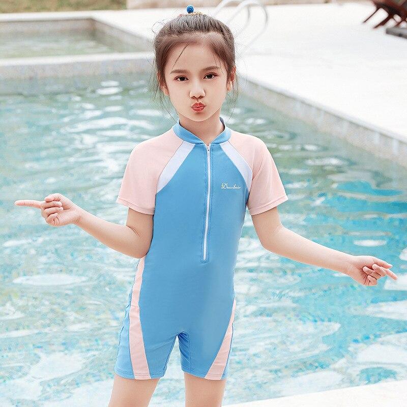 New Style Sporty Boy CHILDREN'S Swimwear Girls Large Children One-piece Boxer Short Sleeve Sun-resistant Quick-Dry Swimwear