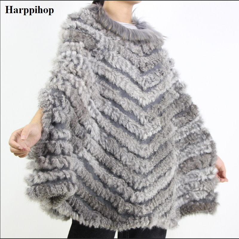 Women s Luxury Pullover Knitted Genuine Rabbit Fur Raccoon Fur Poncho Cape Real Fur Knitting Wraps